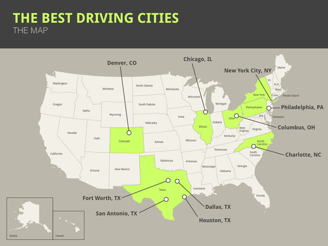 Map of best cities to drive in USA